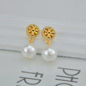 Tory Burch Fashion Zircon Logo Pearl Earrings